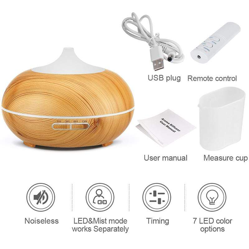 USB Air Humidifier And Aroma Diffuser With Remote Control And 7 Color Light - Breathe Smooth