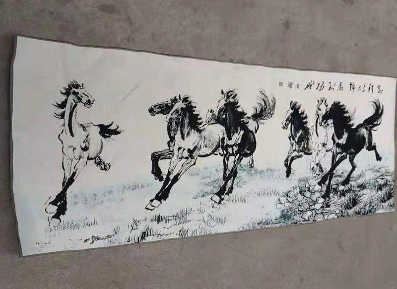 160x60cm/ Chinese silk embroidery painting - Horses - winding art