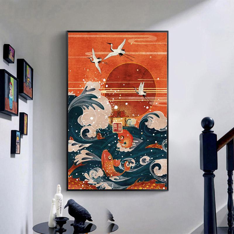 Canvas Art  Painting  Japanese Style Landscape Painting Wave Crane Red Sun - winding art