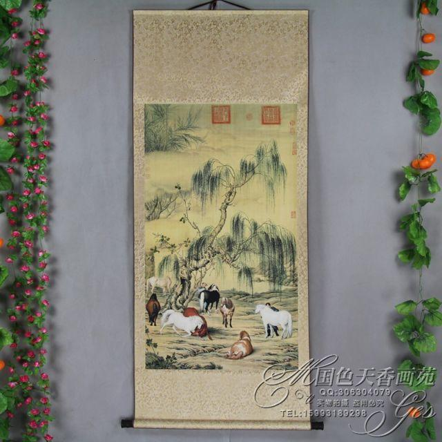 China Antique collection Boutique The eight horse diagram - winding art
