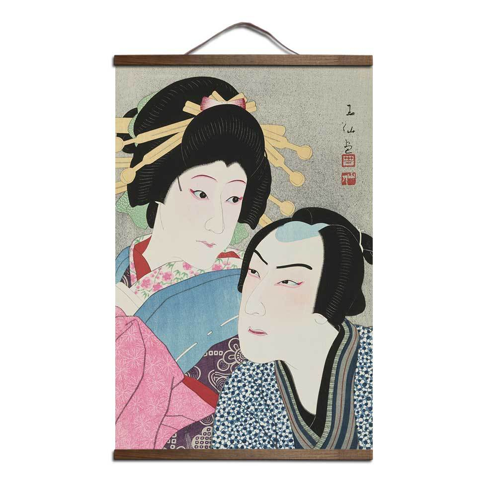 Japanese Ukiyoe for canvas painting with solid wood hanging scroll - winding art