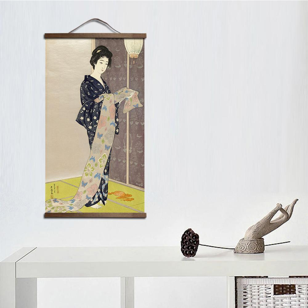 Japanese style  canvas decorative oil  wall art solid wood scroll paintings - winding art