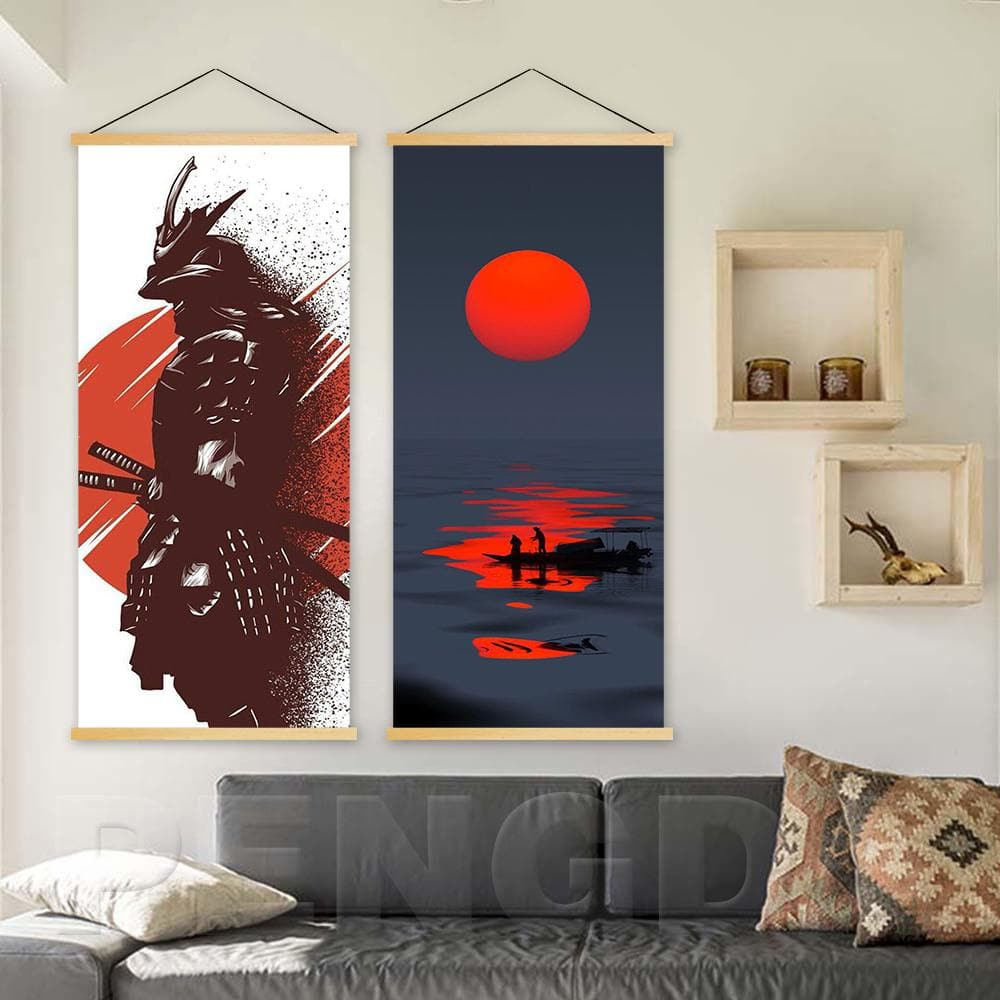 Scroll Modern Japanese Samurai Wall Art Classic - winding art