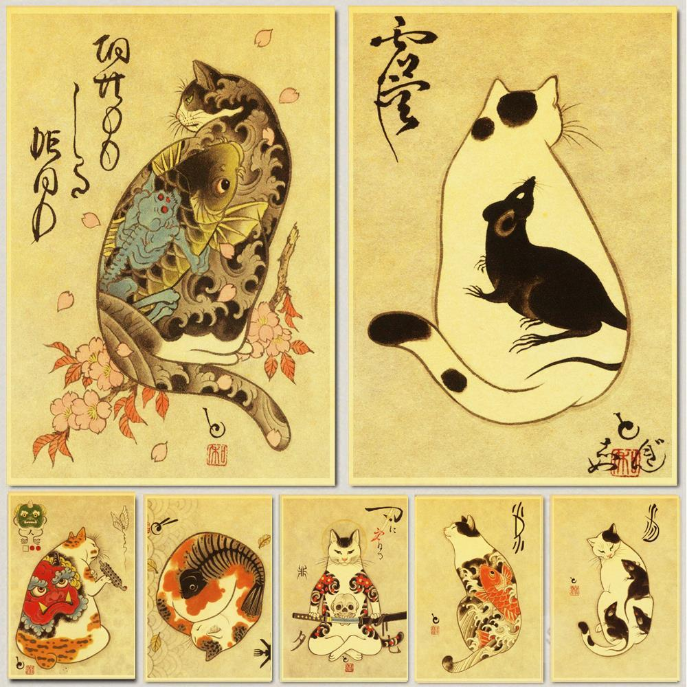 Vintage Japanese samurai cat tattoo cat retro posters kraft wall - winding art