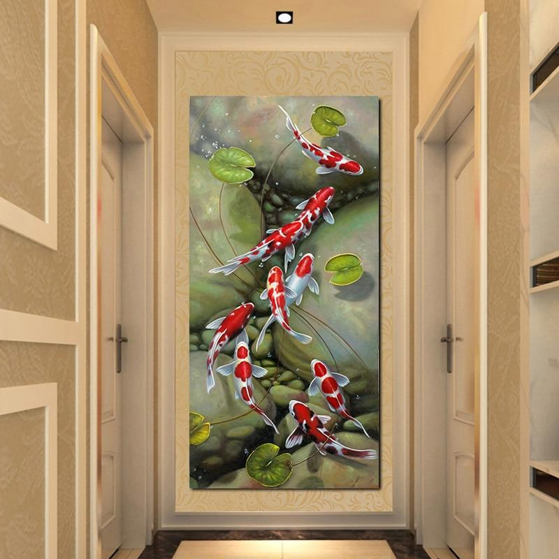 Chinese style Nine Red Koi Fish Landscape Oil Painting - winding art