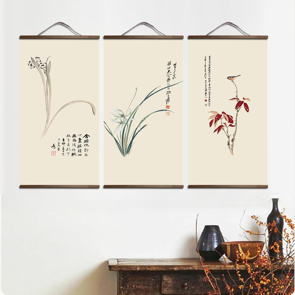 chinese style landscape Green plants canvas  solid wood scroll paintings - winding art