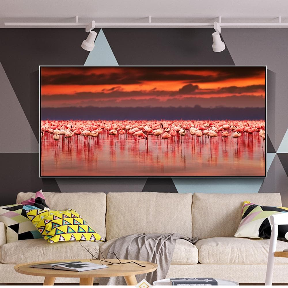 Realist African Flamingo Canvas Paintings Sunset Animals Flamingo - winding art