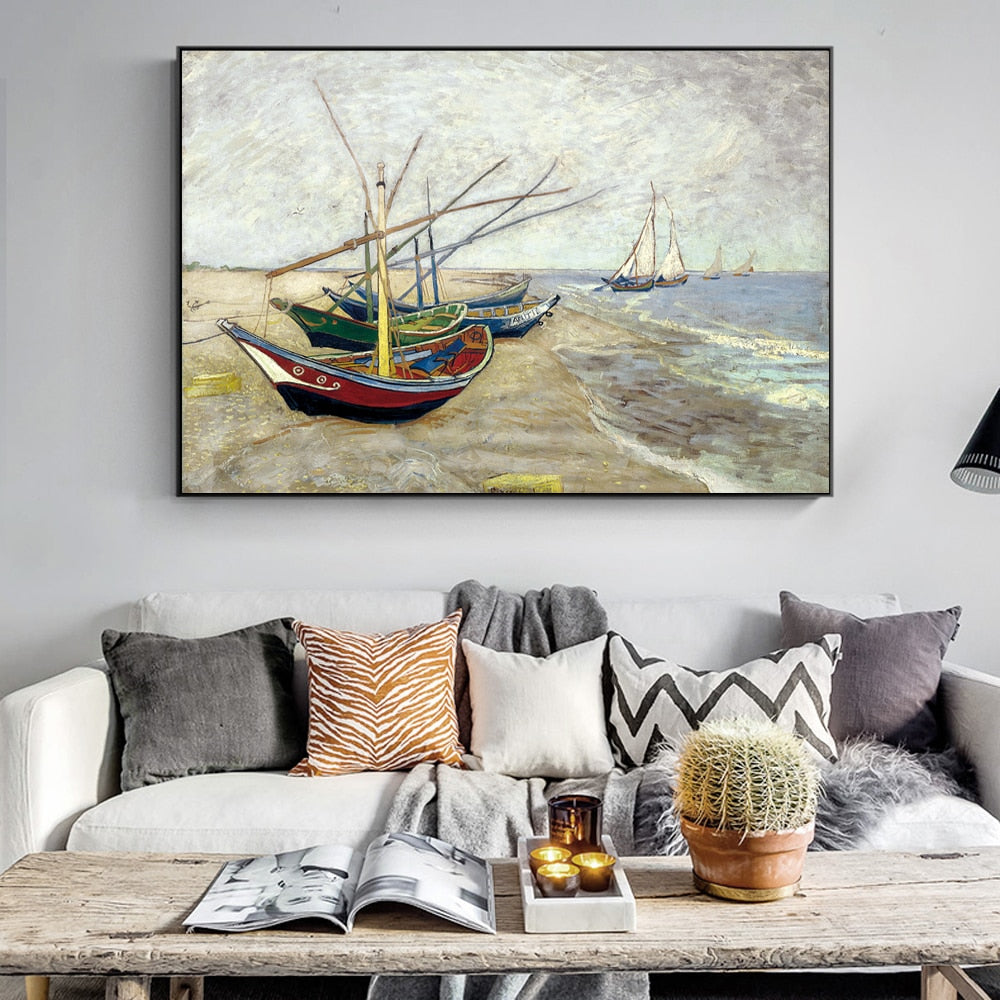 Van Gogh Fishing Boats on the Beach at Saintes-Maries Painting Impressionist Famous - winding art