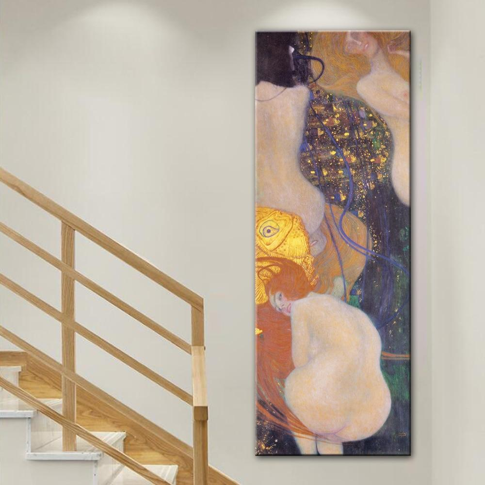 Gustav Klimt Kiss Canvas Art Paintings Reproductions Goldfish Famous - winding art