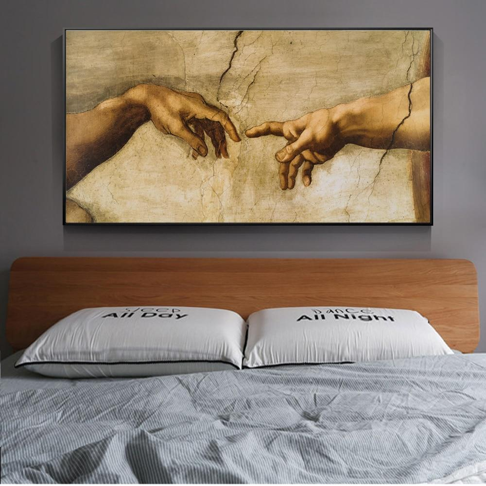 Hands Creation Of Adam Canvas Paintings Reproductions Classical Famous Canvas - winding art