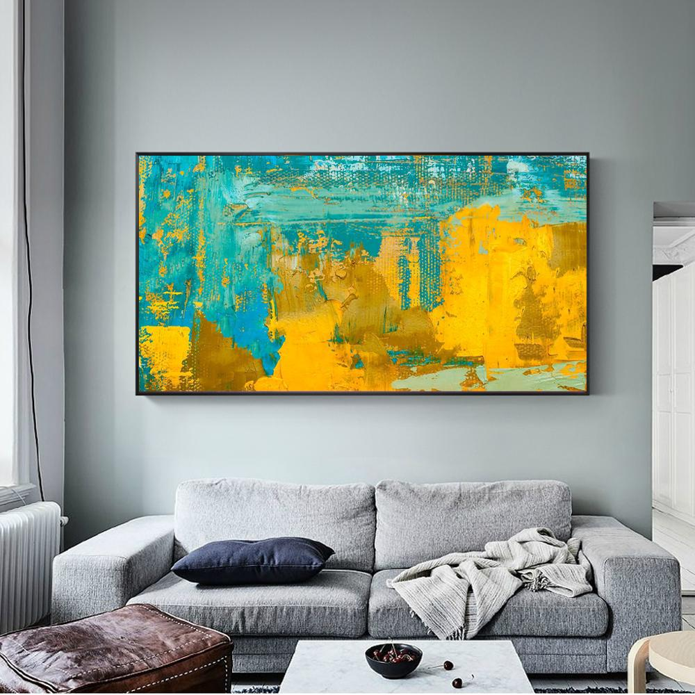 Abstract  Golden And Turquoise Color Canvas Art Painting - winding art