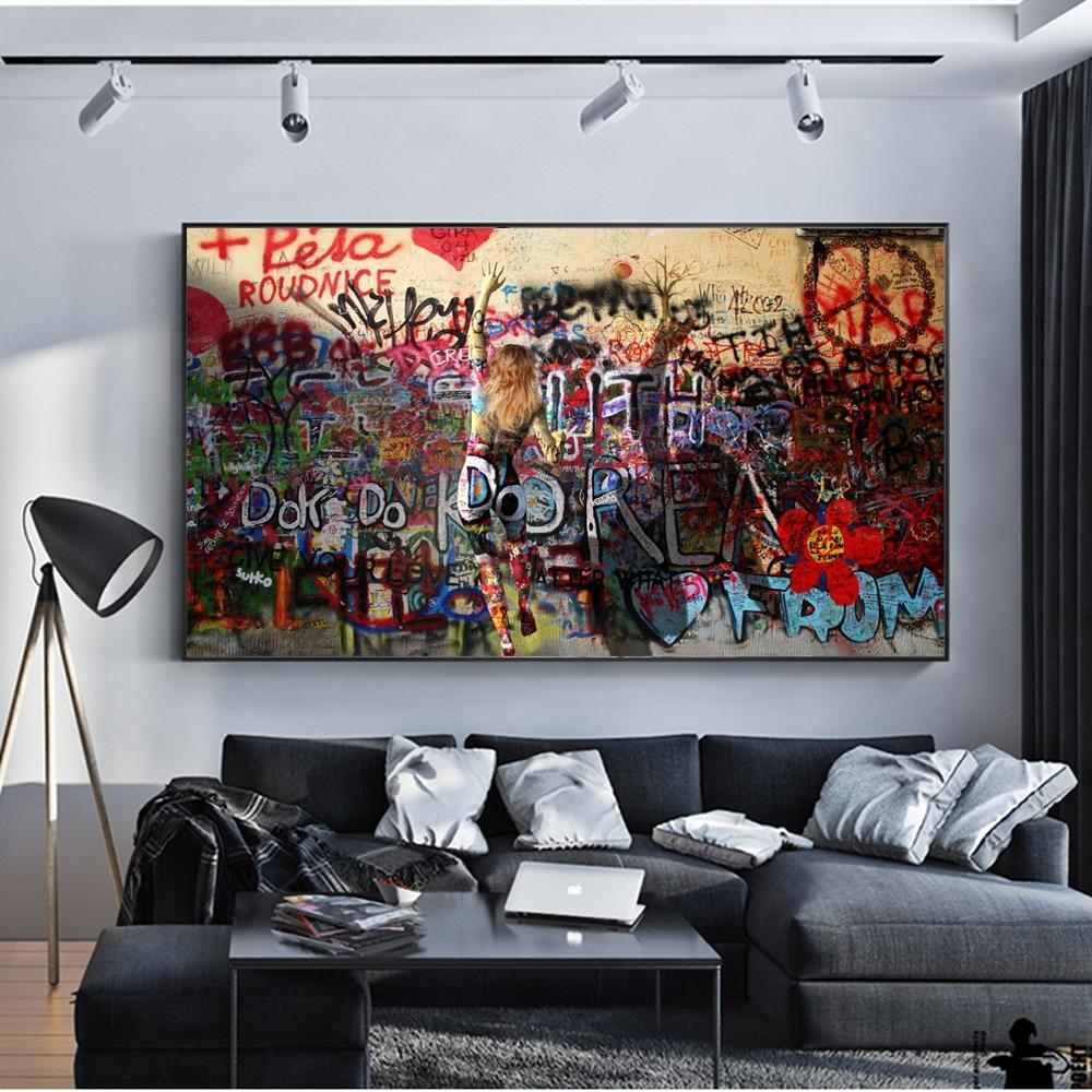 Modern Street Art Prints Abstract Graffiti Wall Art Canvas Paintings - winding art