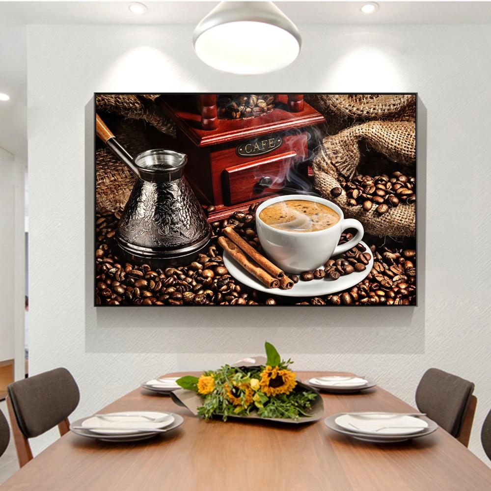 Modern Coffee Theme Wall Art Canvas Painting Coffee Beans - winding art