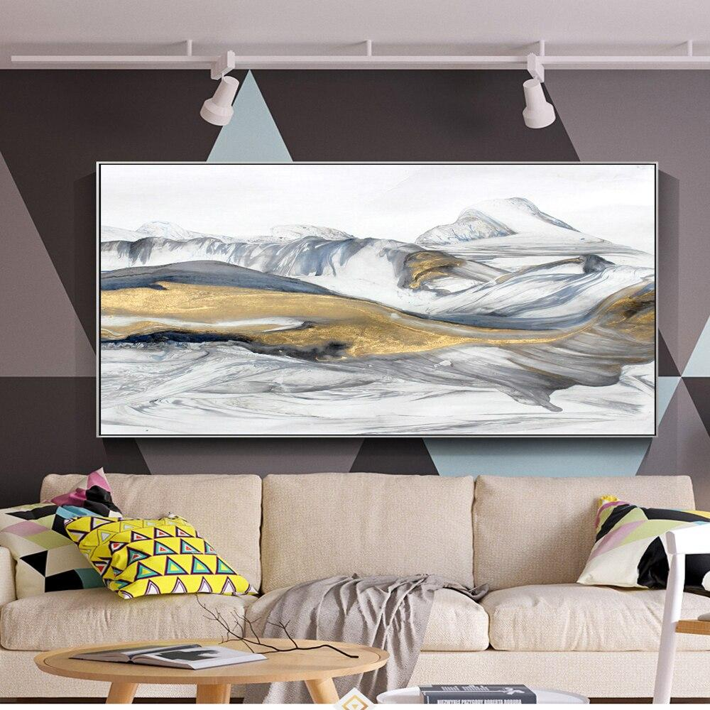 Mountain Abstract Canvas Prints Modern Pop Art Wall Paintings  Golden Landscape - winding art