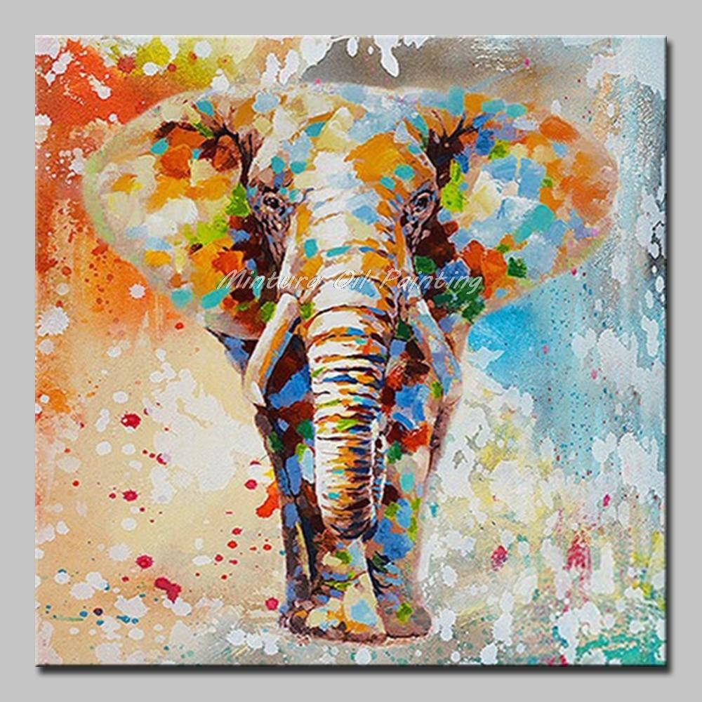 Mintura Art Hand Painted Acrylic Canvas Oil Paintings A Walking Elephant Animals - winding art