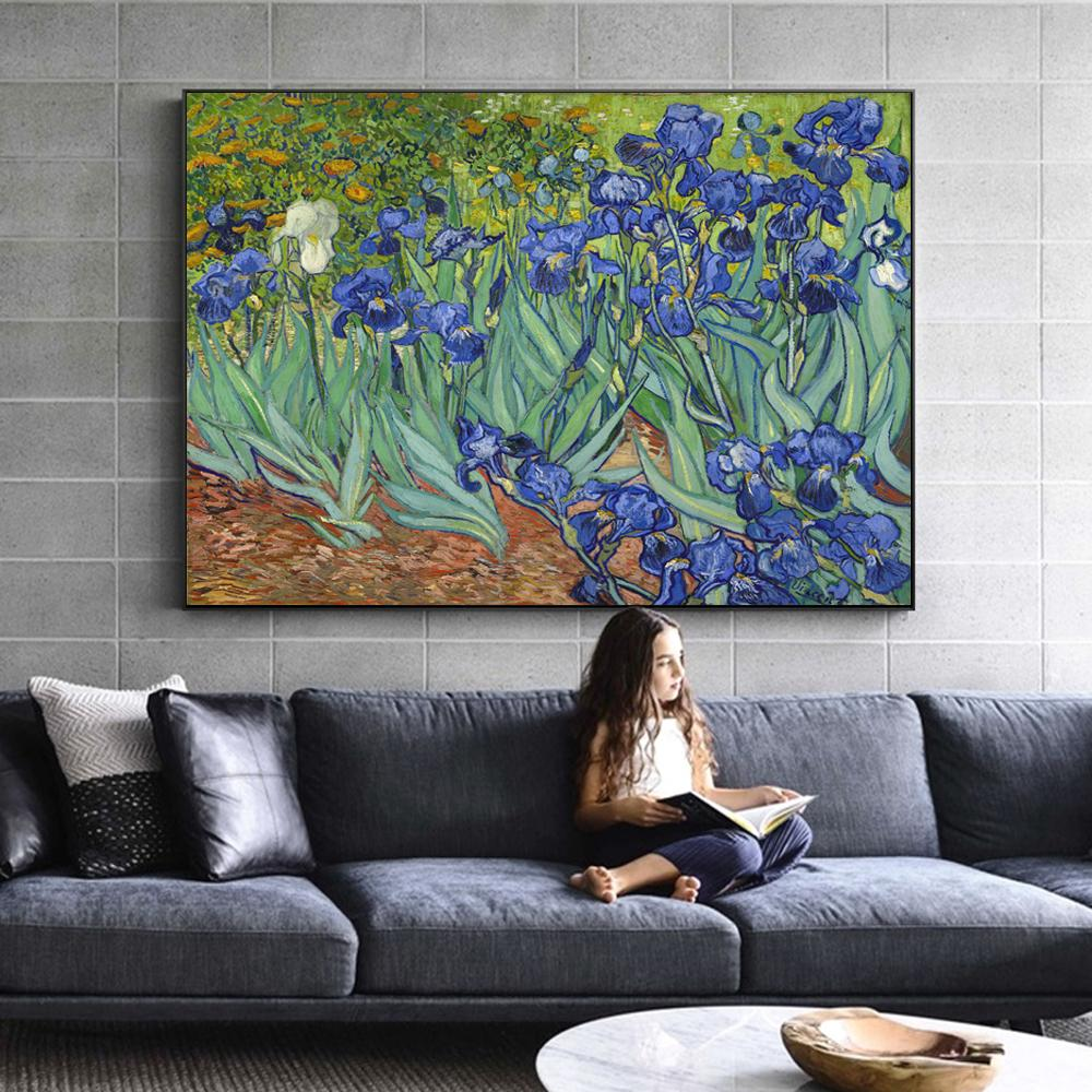 Van Gogh Irises Flowers Canvas Art Impressionist Paintings Reproductions By Van Gogh - winding art