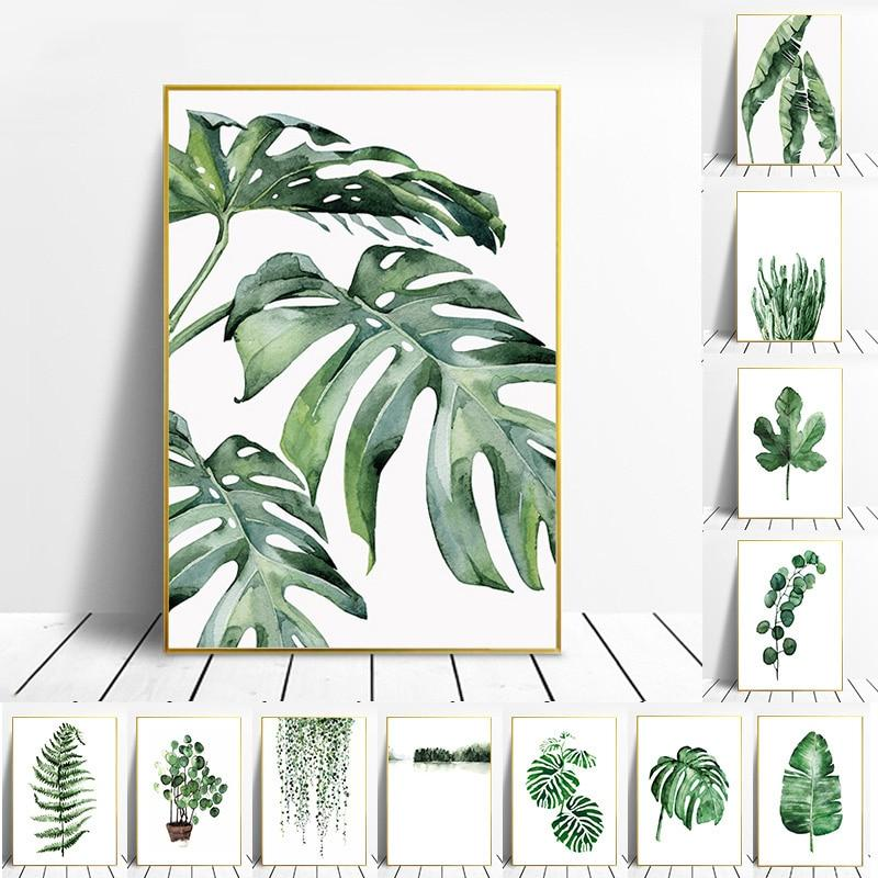 Nordic Tropical Plants Scandinavian Poster Green Leaves  Wall Art Canvas Paintings - winding art