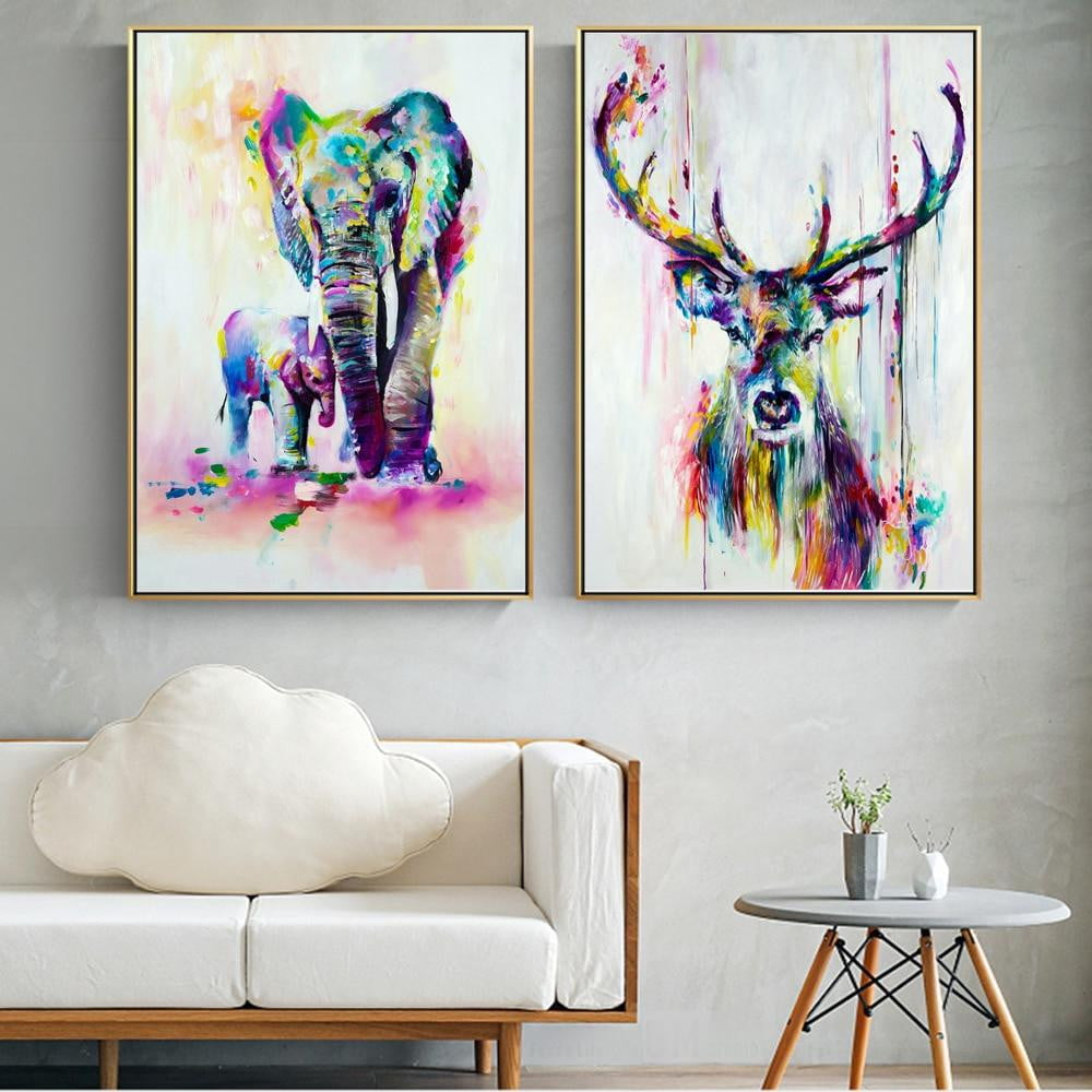 Watercolor Animals Canvas Art Wall Paintings Elephant And Deer - winding art