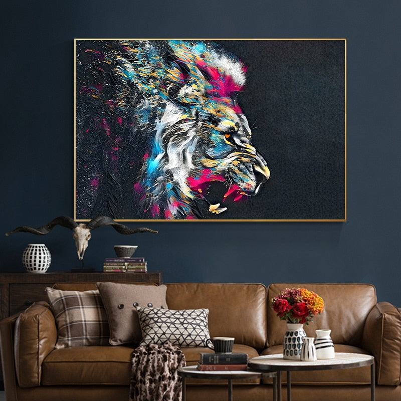 Watercolor Lion Canvas Art Paintings Modern Animals - winding art