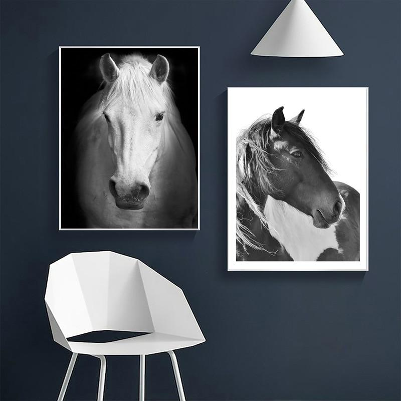 Nordic Black And White Horse Canvas Painting Animals - winding art