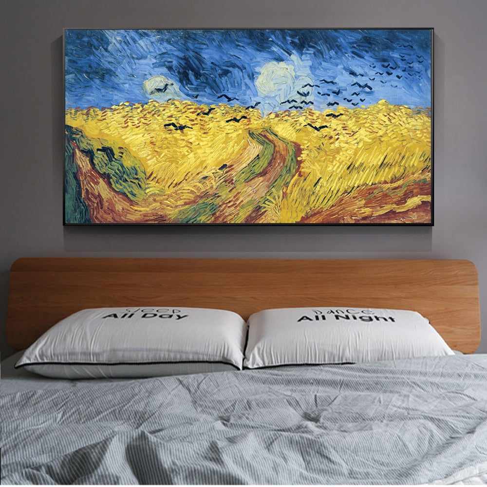 Wheatfield With Crows Canvas Art Paintings Reproductions Van Gogh Famous - winding art