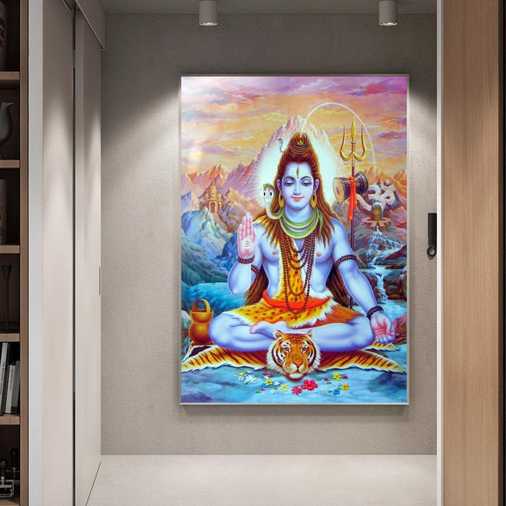Shiva Lord Canvas Art Wall Paintings Hindu Gods Wall Art Prints Hinduism Wall - winding art