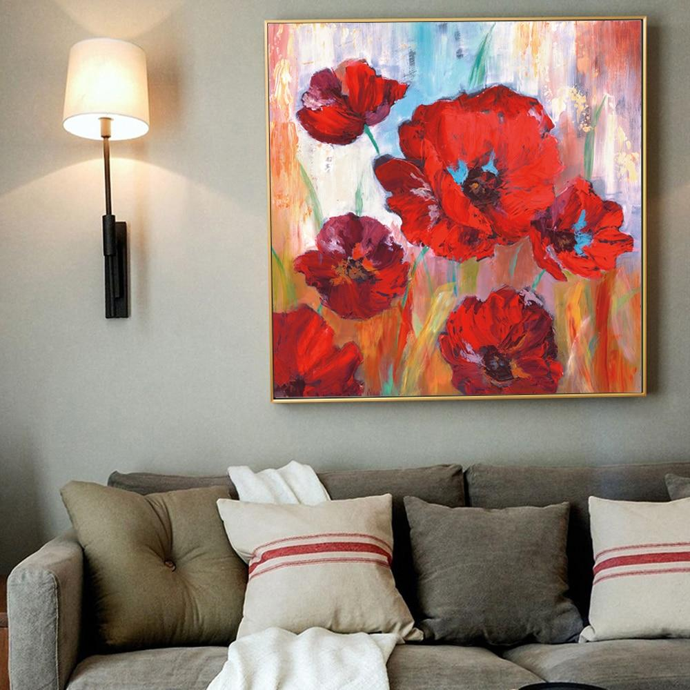Large Red  Flowers Canvas Paintings On The Wall - winding art