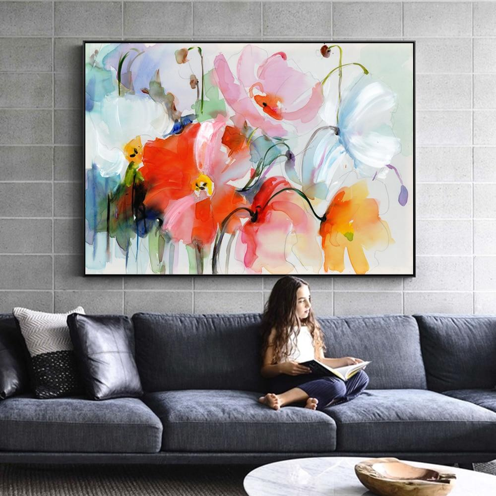 Watercolor Flowers Wall Paintings For Living Room - winding art