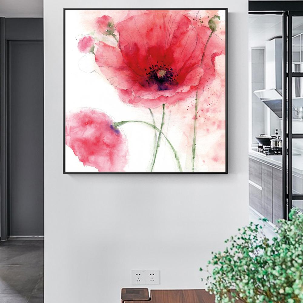 Flowers Modern Canvas Art Painting On The Wall Large Watercolor Poppy Flower - winding art