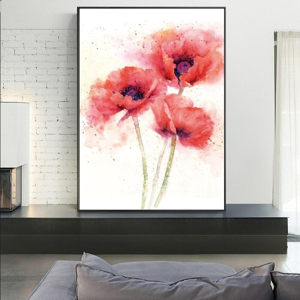 Poppy Flower Canvas Art Paintings On The Wall  Red Flowers - winding art