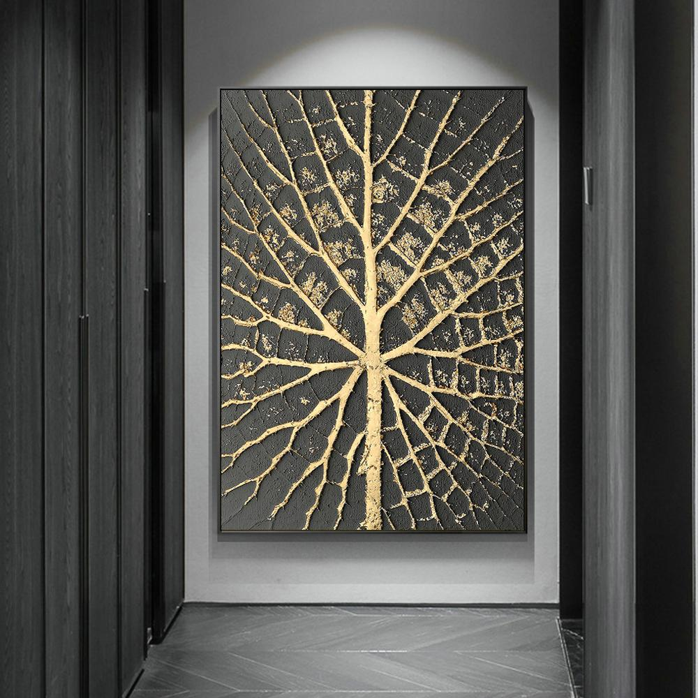 Abstract Golden Point Canvas Paintings On The Wall Posters - winding art