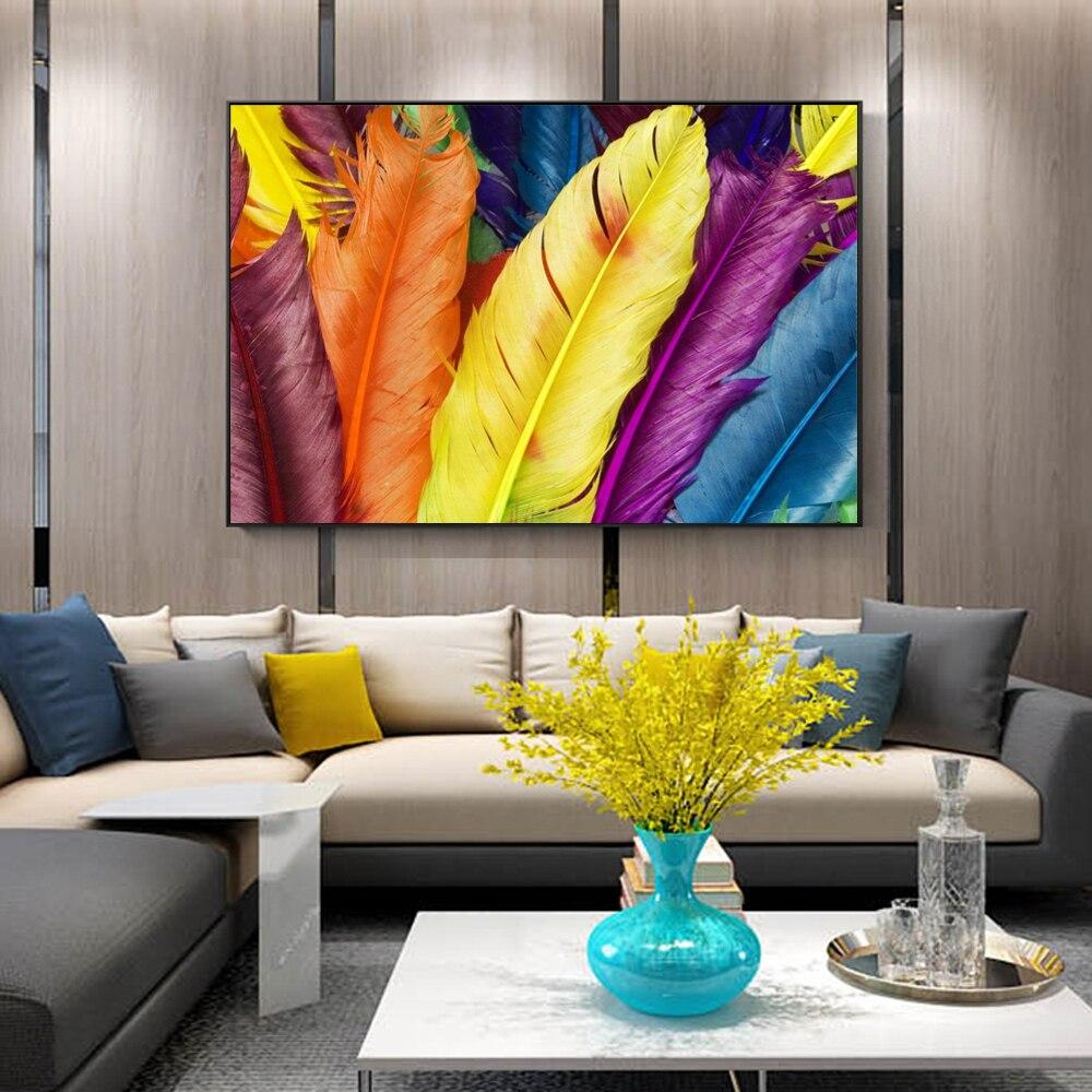 Modern Canvas Art Wall Paintings Beautiful Fashion Colored Feathers - winding art