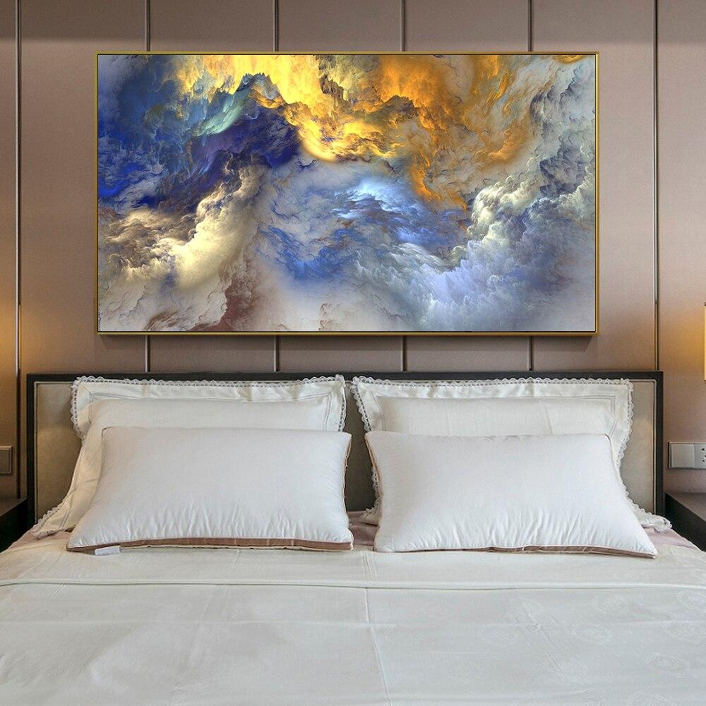 Golden Abstract Mysterious Cloud Modern Paintings - winding art