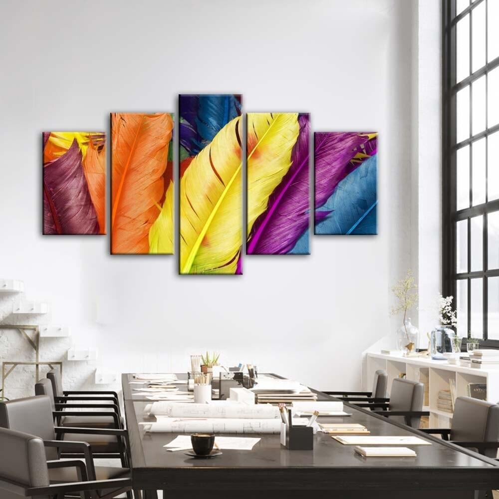 Wall Art Paintings  For Living Room Modern Colorful Feather Canvas - winding art