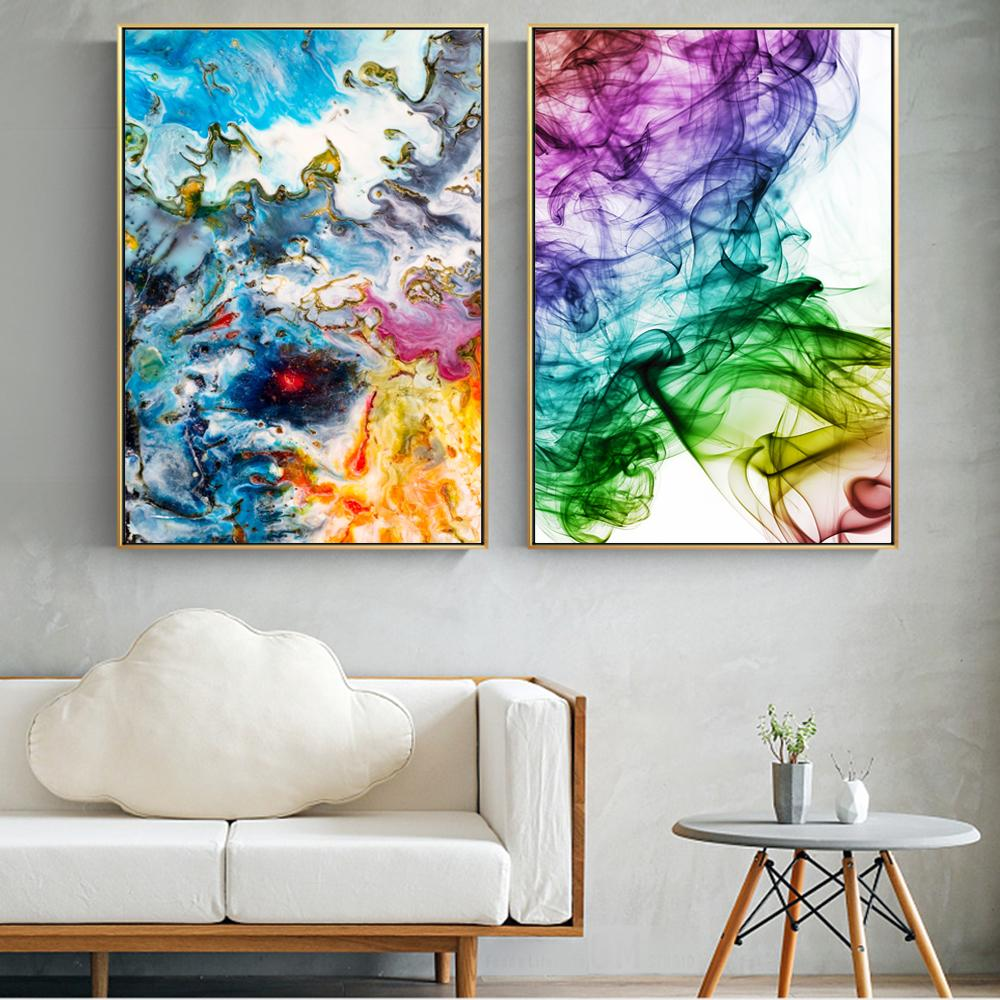 Watercolor Abstract Canvas Art Paintings On The Wall Colorful Pop Art Wall - winding art
