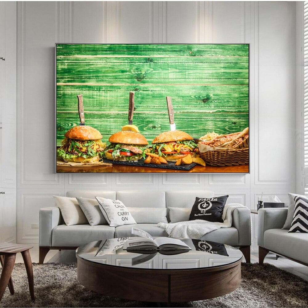 Realist Hamburger Wall Art Canvas Prints Restaurant Wall Decor - winding art
