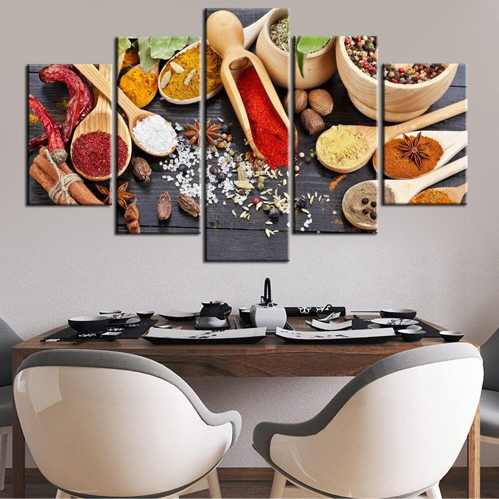 Kitchen Seasoning Wall Art Canvas Paintings  Realist  For Kitchen Room - winding art