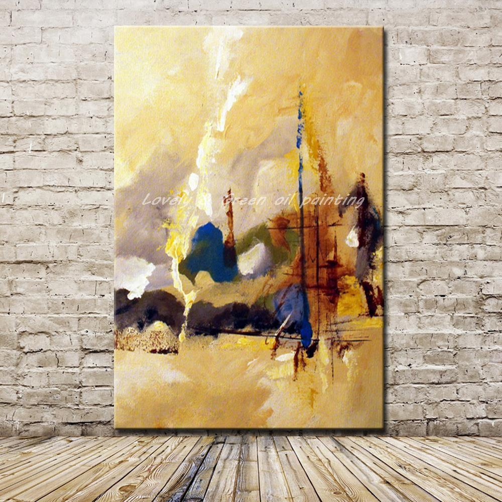 Hand Painted  Abstract Landscape Oil Painting On Canvas Wall Art - winding art