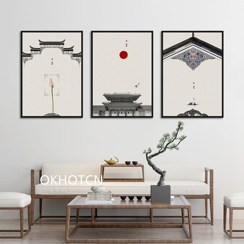 Chinese style Classical Architecture Lotus Red Sun Wall Art Canvas Painting - winding art