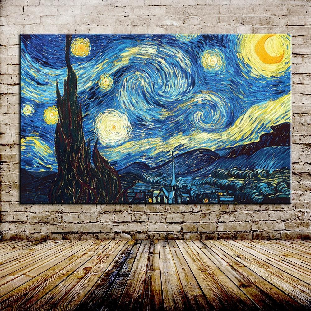 Starry Night Of Vincent van Gogh Handmade Reproduction Oil Painting Hand Painted - winding art