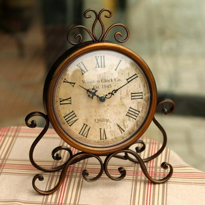 Vintage iron home decoration table clock  montre reine des neiges horloge 16 - winding art