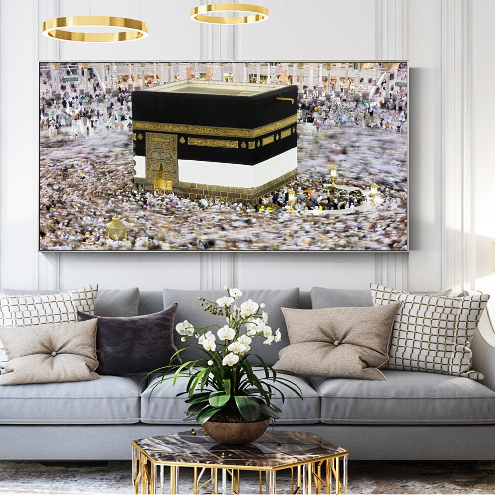 Great Mosque Of Mecca Islamic Holy Land Landscape Canvas Art Paintings Muslim - winding art