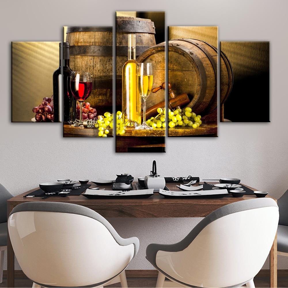 Grape Wine Canvas Art Wall Paintings For Bar Decor Kitchen - winding art