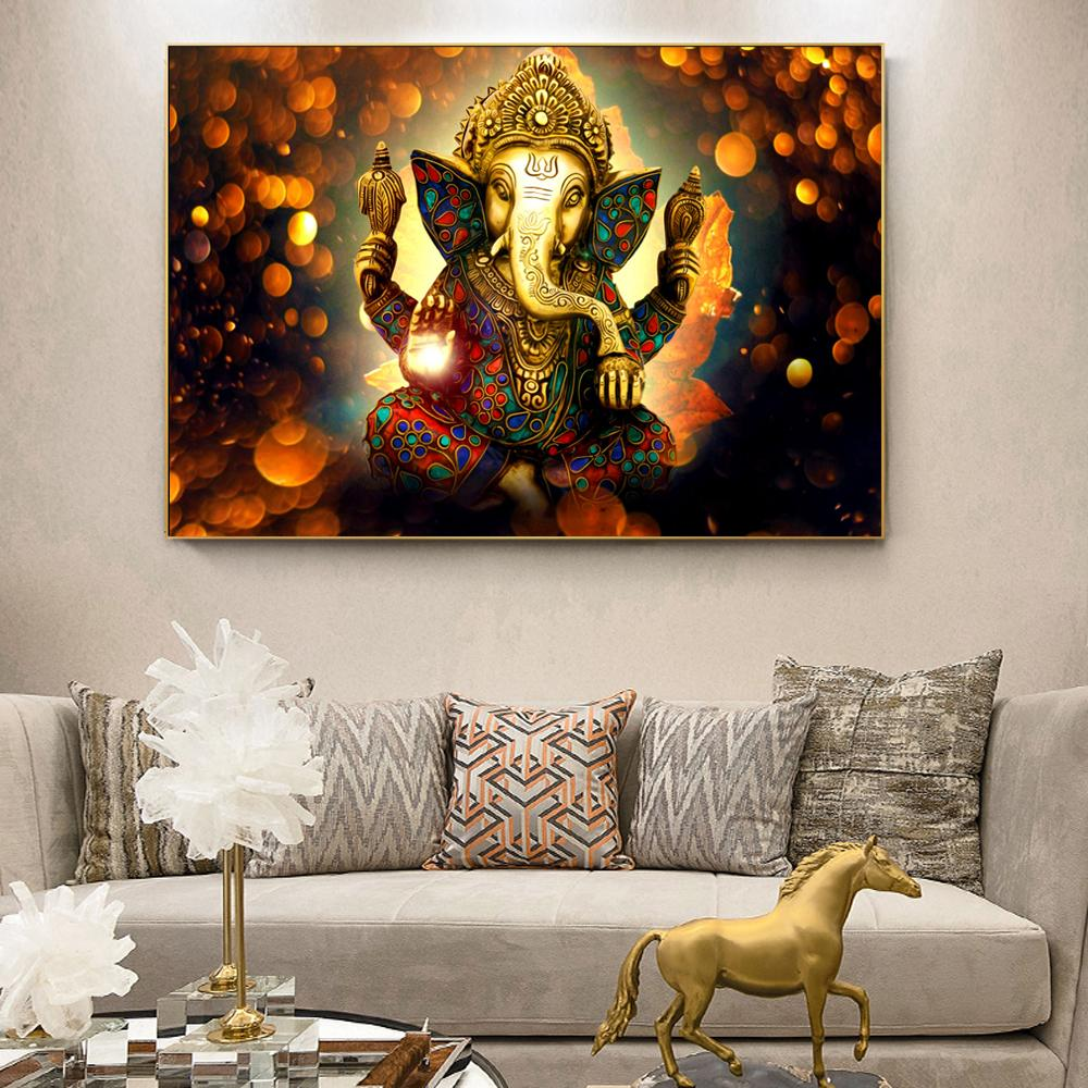 Lord Ganesha Canvas Paintings On The Wall Classical Hindu Gods - winding art
