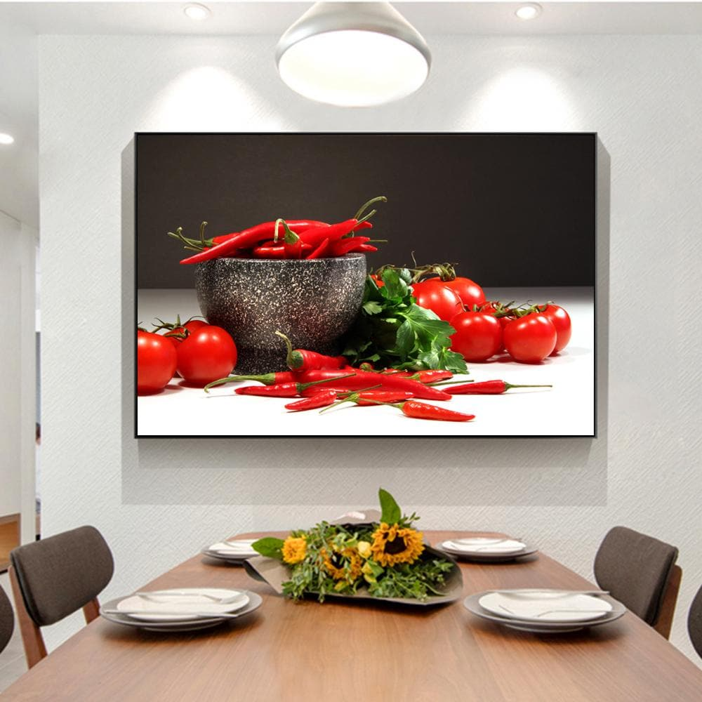 Tomatoes And Peppers Wall Art Canvas Prints Realist Kitchen Wall - winding art