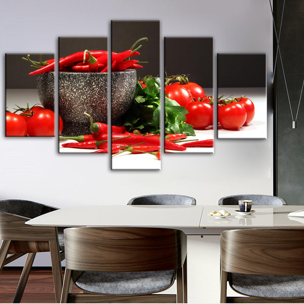 Kitchen Theme Decorative Canvas Art Prints Tomato And Chili - winding art