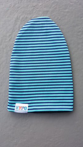 Teal/Navy Stripes Slouch Beanie