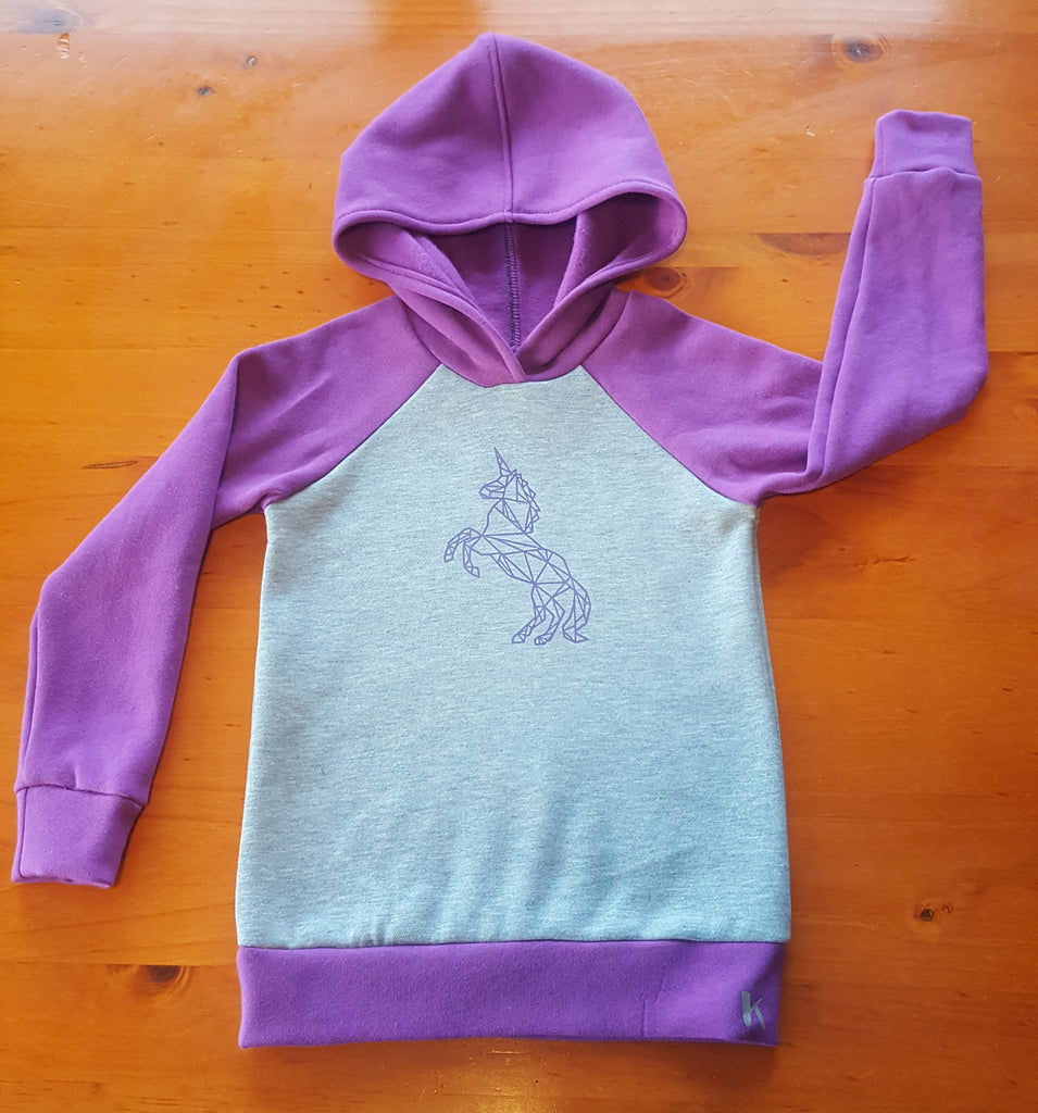 Grey/Purple Hoodie - Unicorn