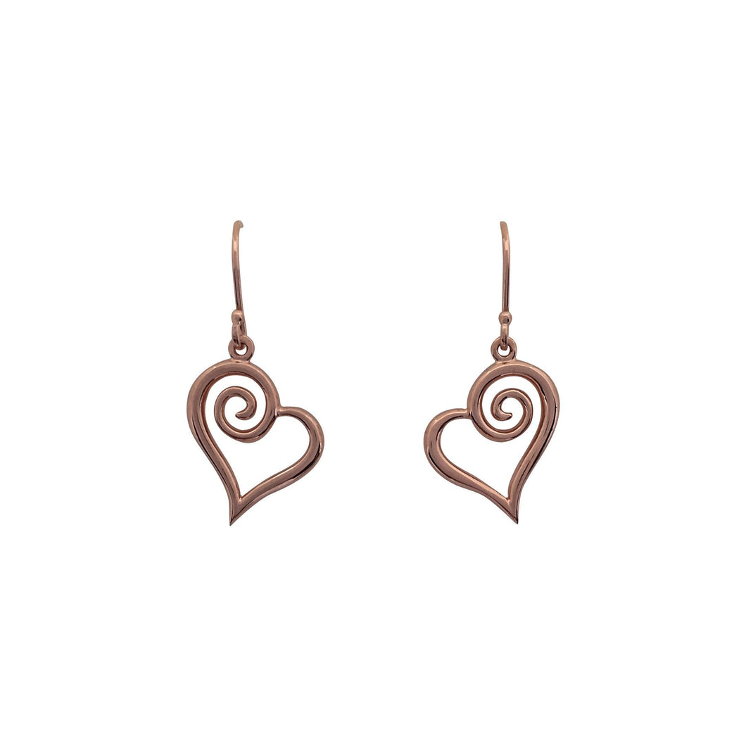 Rose gold koru heart earrings