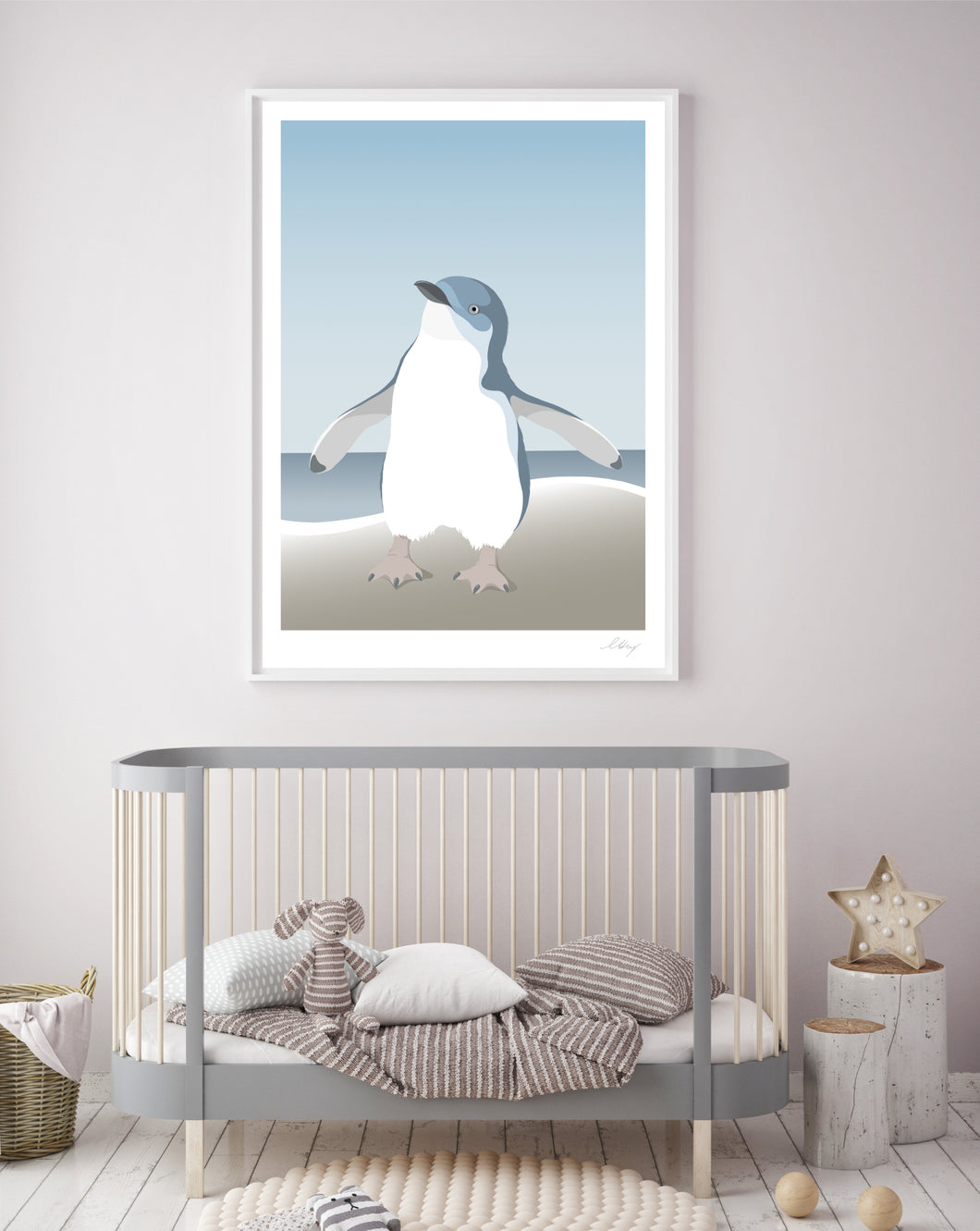 Hansby Design Blue Penguin Print Nursery